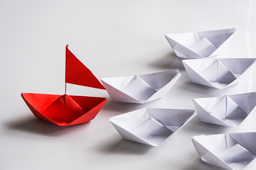 Close-Up Of Paper Boats Over White Background - gettyimageskorea