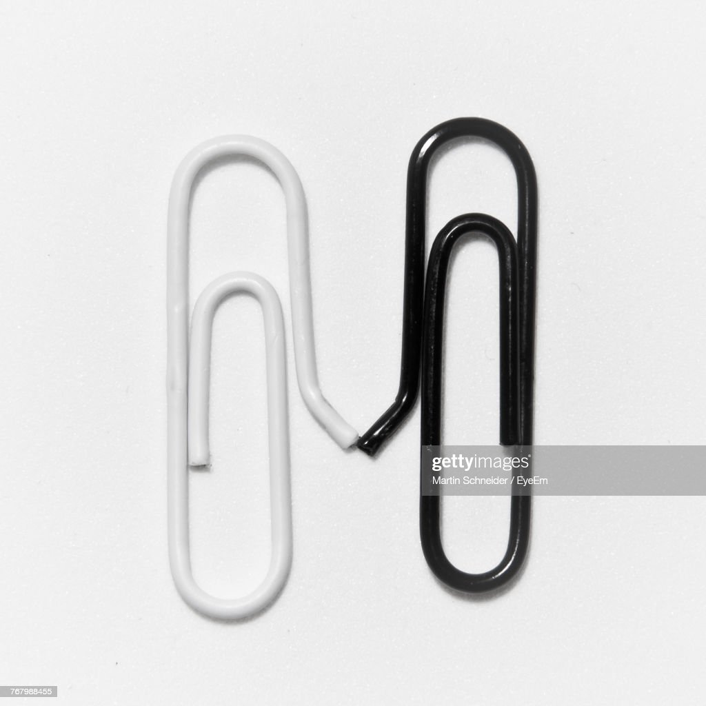 Close-Up Of Paper Clips On White Background : Stock Photo