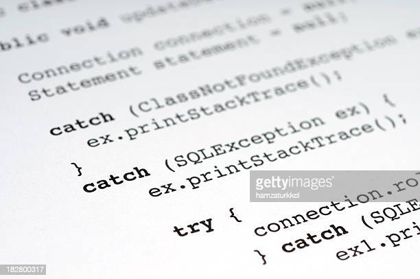 Closeup of paper with Java computing terms on it