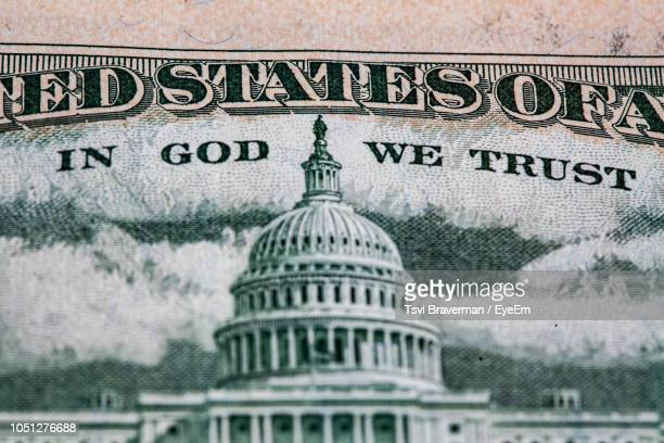 close-up of parliament on us paper currency - capitol hill stock pictures, royalty-free photos & images