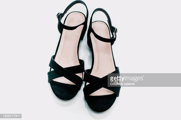 closeup of party sandals on white background - open toe stock pictures, royalty-free photos & images