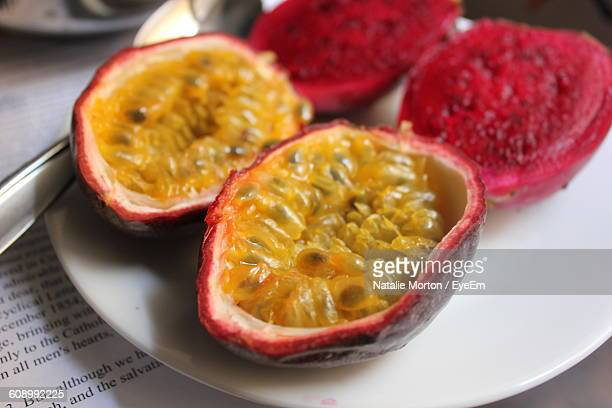 Close-Up Of Passion Fruits In Plate