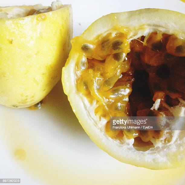 Close-Up Of Passion Fruits On Table