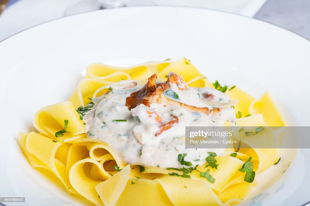 Close-Up Of Pasta In Plate : Stock Photo