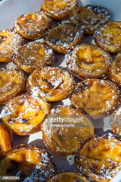 Closeup of Pastel de nata which is a Portuguese egg tart pastry in Lisbon the capital city of Portugal