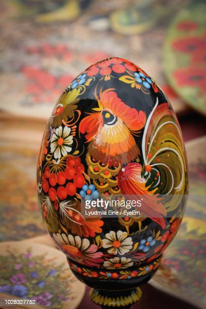 Close-Up Of Patterned Easter Egg On Table