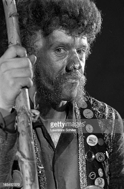 Closeup of an unidentified Merry Pranksters with nose jewelry and dressed in a buttonfestooned vest while on an LSD 'trip' Los Angeles California...