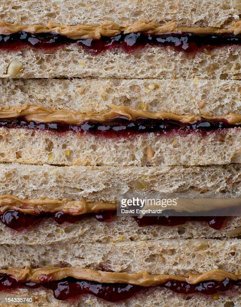 close-up of peanut butter and jelly sandwiches - peanut butter and jelly sandwich stock pictures, royalty-free photos & images