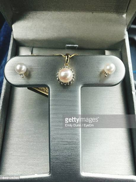 Close-Up Of Pearl Necklace In Jewelry Box