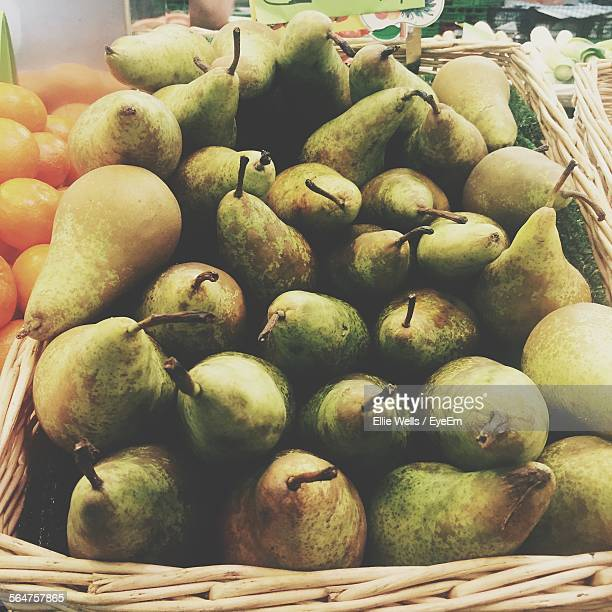 close-up of pears at market stall - ellie price stock pictures, royalty-free photos & images