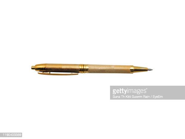 close-up of pen against white background - pen stock pictures, royalty-free photos & images