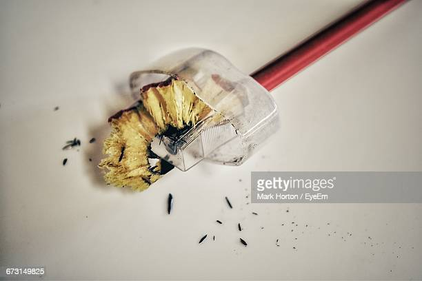 Close-Up Of Pencil In Sharpener On Table