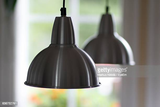 close-up of pendant lights at home - pendant light stock pictures, royalty-free photos & images