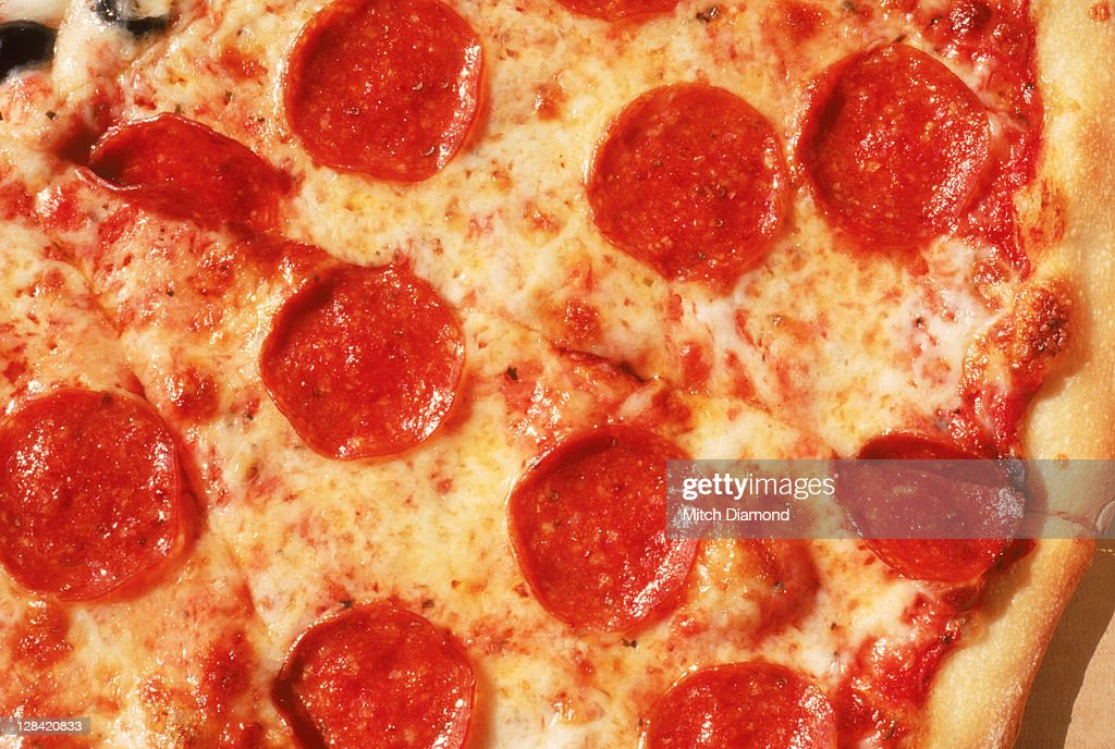 Close-up of pepperoni pizza : Stock Photo