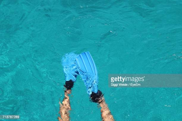 Close-Up Of Person Swimming In Pool
