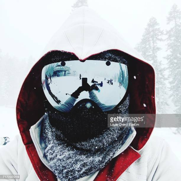 f4525a6ebfd2 Close-Up Of Person Wearing Ski Goggles