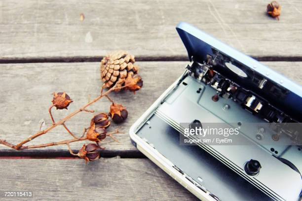 Close-Up Of Personal Cassette Player With Plant On Wooden Table