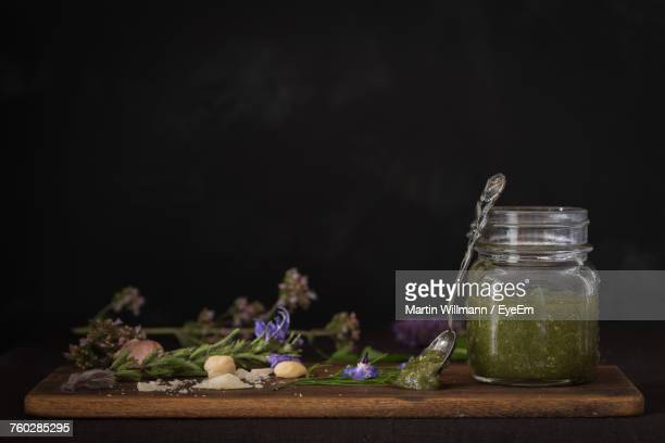 Close-Up Of Pesto In Jar On Table