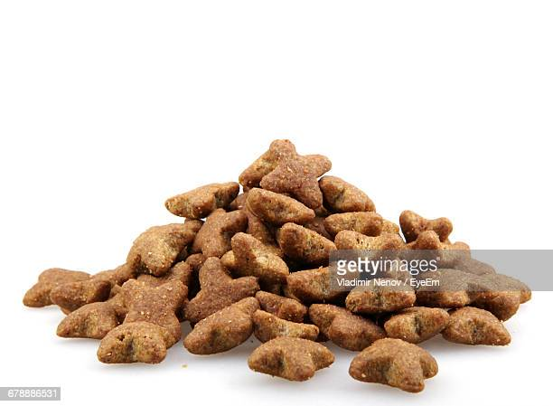 Close-Up Of Pet Food Against White Background