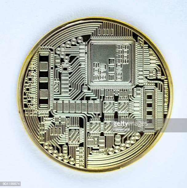 Close-Up Of Physical version of Bitcoin coin