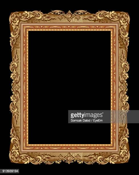 close-up of picture frame over black background - ornate stock pictures, royalty-free photos & images