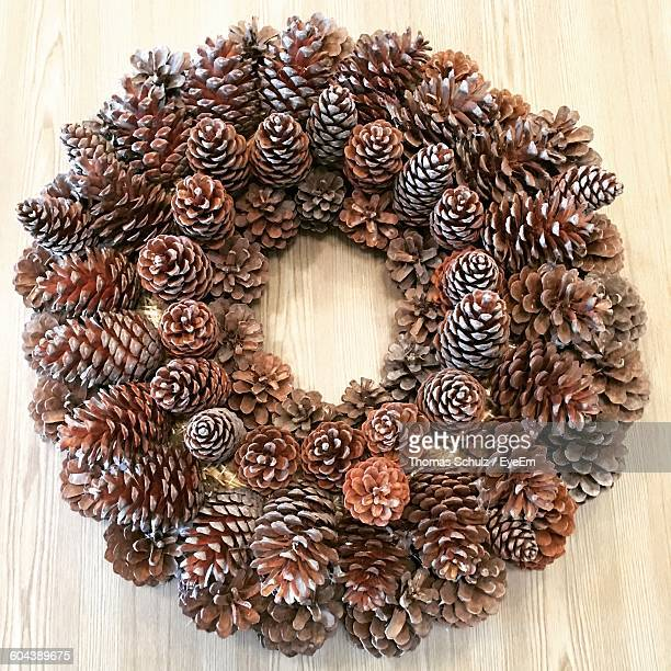 Close-Up Of Pine Cone Wreath