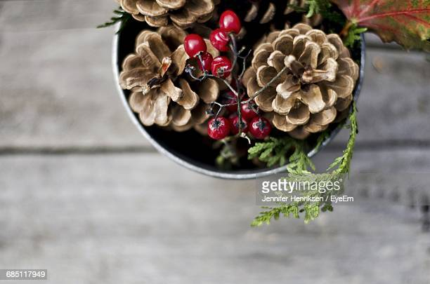 Close-Up Of Pine Cones With Berries For Christmas