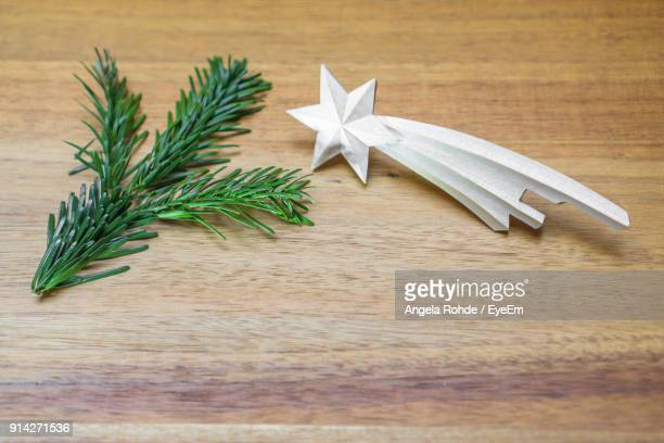 close-up of pine needle with star shape on wooden table - angela rohde stock-fotos und bilder