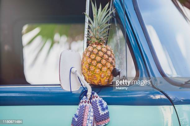 close-up of pineapple and bikini hanging on the side mirror of a car - lateinamerika stock-fotos und bilder