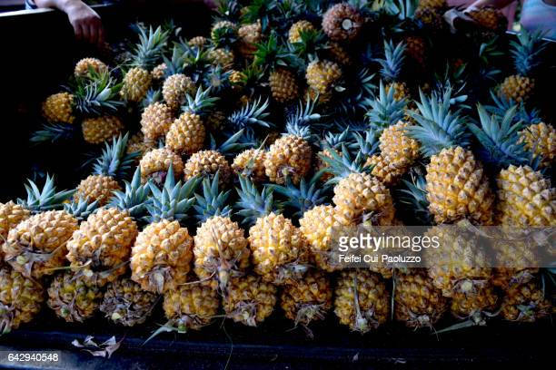 Close-up of pineapples at market of Hanga Roa in Easter Island of Chile