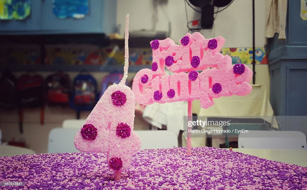 Closeup Of Pink Birthday Cake On Table Stock Photo Getty Images