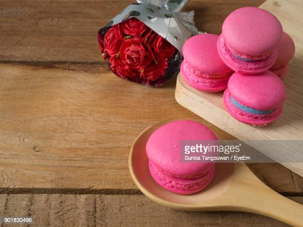 Close-Up Of Pink Macaroons On Table