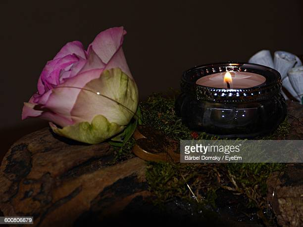 Close-Up Of Pink Rose And Lit Tea Light Candle On Field