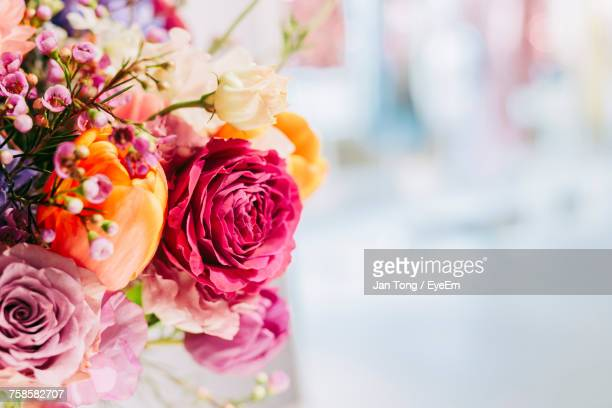 close-up of pink rose bouquet - bouquet stock pictures, royalty-free photos & images