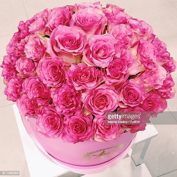 Close-Up Of Pink Roses In Bucket