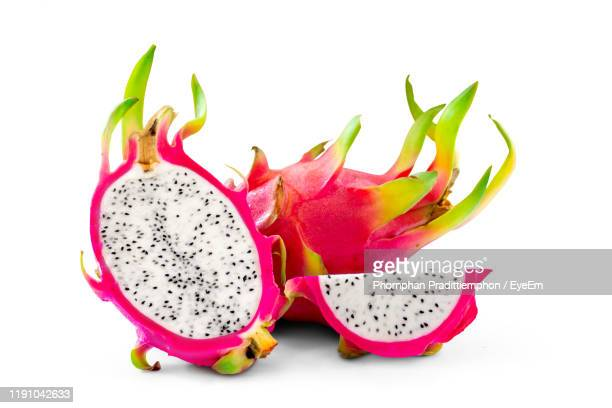 close-up of pitaya on white background - dragon fruit stock pictures, royalty-free photos & images