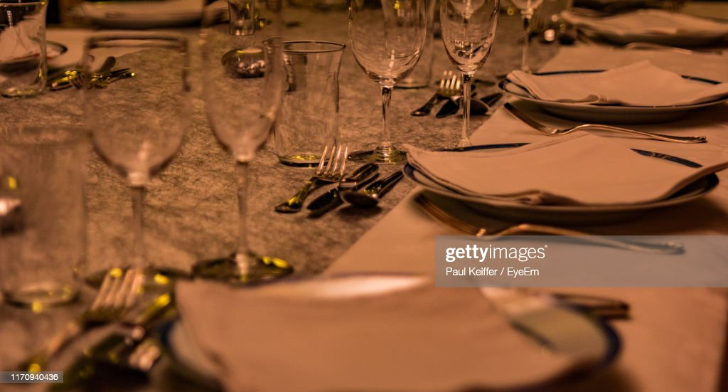 Close-Up Of Place Setting On Table : Stock Photo