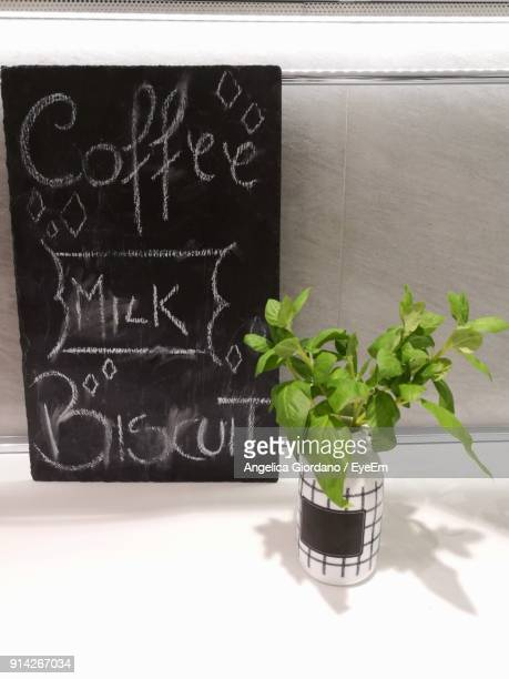 Close-Up Of Plant By Blackboard On Table