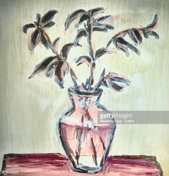 close-up of plant in vase painting - mixed media stock pictures, royalty-free photos & images