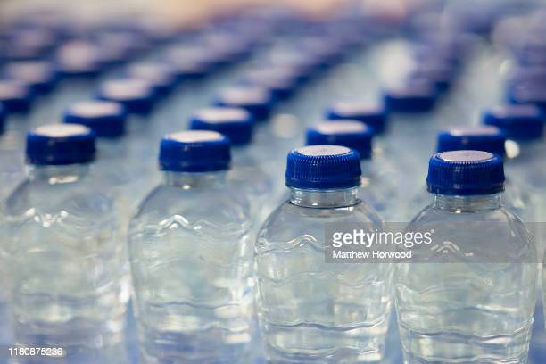 A closeup of plastic water bottles on October 3 2019 in Cardiff United Kingdom
