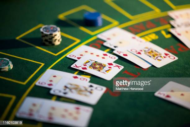 A closeup of playing cards on a roulette table on January 17 2019 in Cardiff United Kingdom