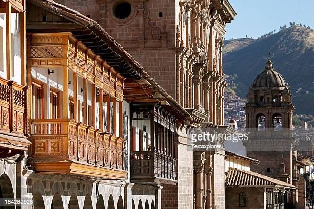 closeup of plaza de armas in cusco, peru - peru stock pictures, royalty-free photos & images
