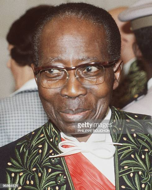 Close-up of poet and former Senegal President Leopold Sedar Senghor taken 29 March 1984 in Paris during his reception at the French Academia.