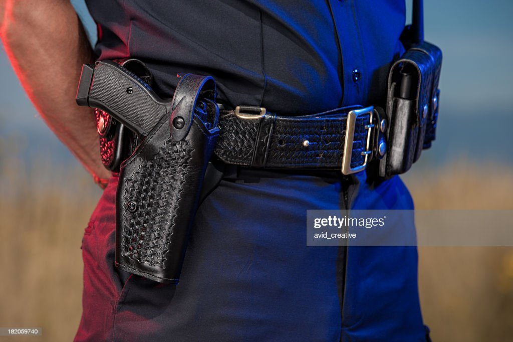 Closeup of Police Officer Belt : Stock Photo