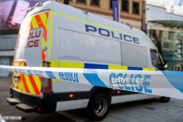 Close-up of police tape at a police incident on November 22, 2020 in Cardiff, Wales.