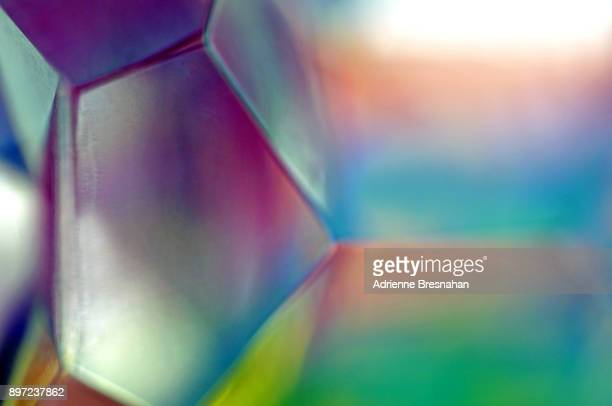 Close-Up of Polyhedron Prism and Refracting Light