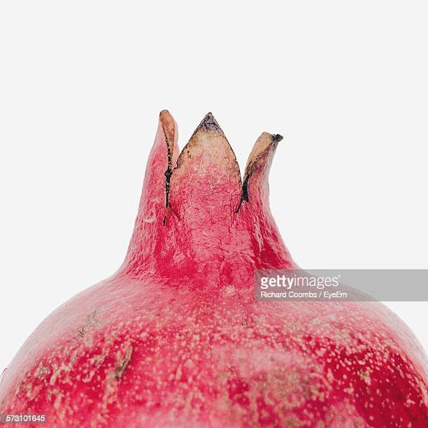 Close-Up Of Pomegranate Crown Against White Background