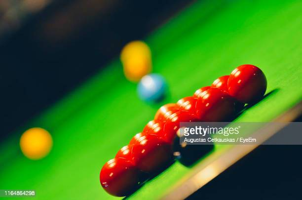 close-up of pool balls on table - snooker stock pictures, royalty-free photos & images