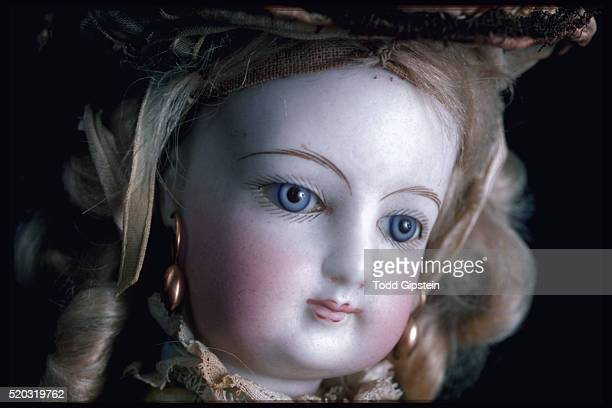 close-up of porcelain doll's face - gipstein stock pictures, royalty-free photos & images