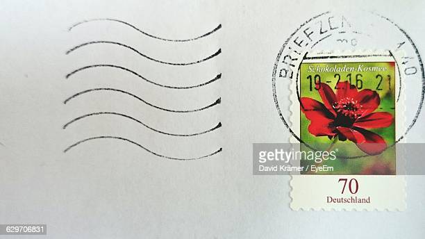 Close-Up Of Postage Stamp On Envelope